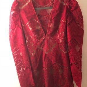 Saylor red cap sleeve dress